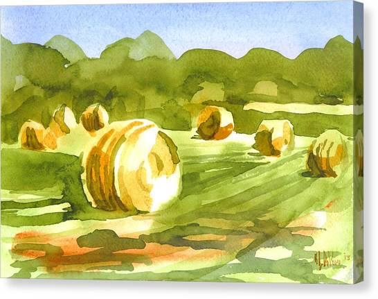 Bales In The Morning Sun Canvas Print