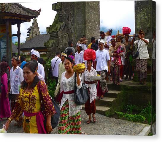 Balinese Leaving Beratan Temple Bali Canvas Print