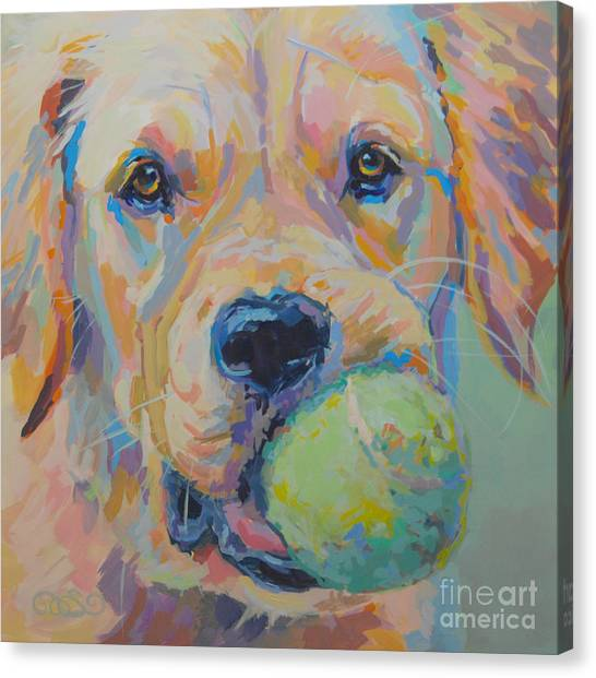 Golden Retrievers Canvas Print - Ball by Kimberly Santini