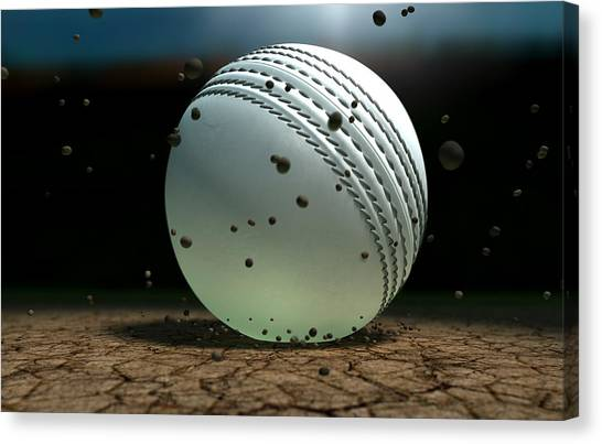 Crickets Canvas Print - Ball Striking Bounce by Allan Swart