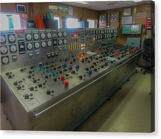 Ballast Control Panel Of The Ocean Valiant Semi Submersible Drilling Rig Canvas Print