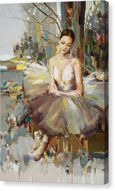 Figure Skating Canvas Print - Ballerina 32 by Mahnoor Shah