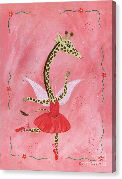 Ballerina Giraffe Girls Room Art Canvas Print by Kristi L Randall Brooklyn Alien Art