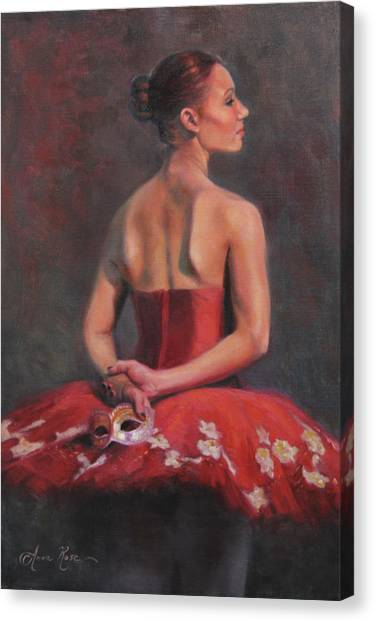 Ballet Canvas Print - Ballerina With Mask by Anna Rose Bain