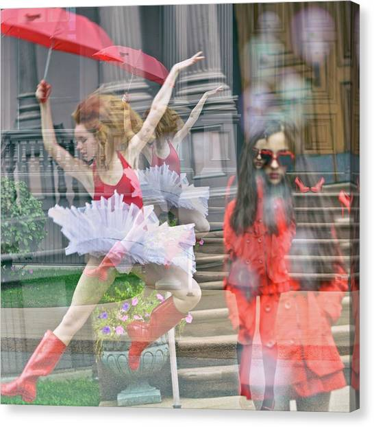 Self Discovery Canvas Print - Ballerina With Mysterious Girl by
