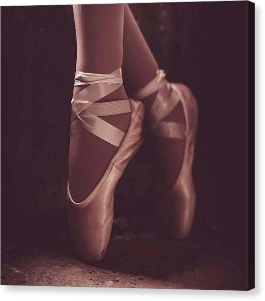Ballet Shoes Canvas Print - #ballet #ballerina #pointe #feet by Jesse Vargas