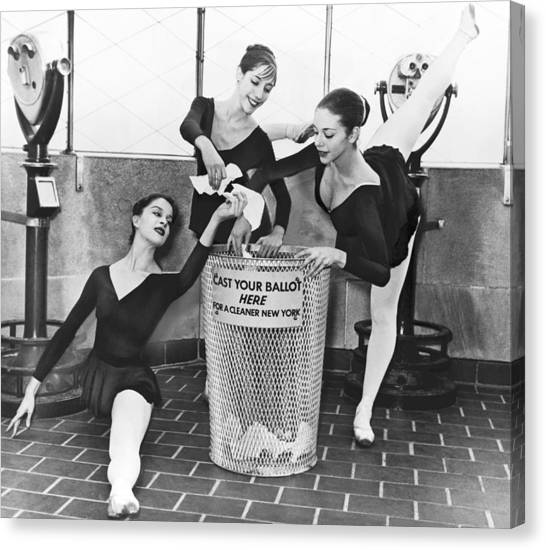 Rubbish Bin Canvas Print - Ballet On Top Of Empire State by Herman Hiller