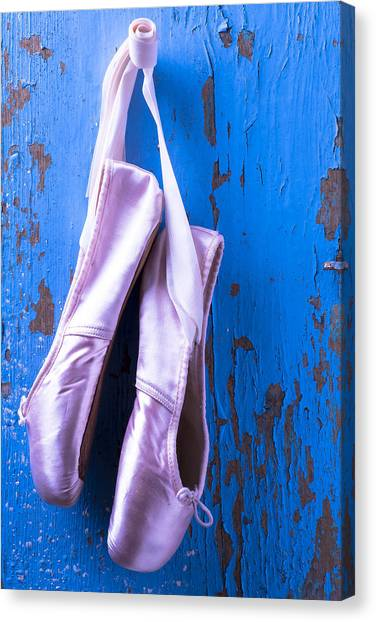 Ballet Shoes Canvas Print - Ballet Shoes On Blue Wall by Garry Gay
