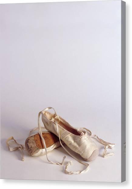 Ballet Shoes Canvas Print - Ballet Shoes On White by Jon Neidert