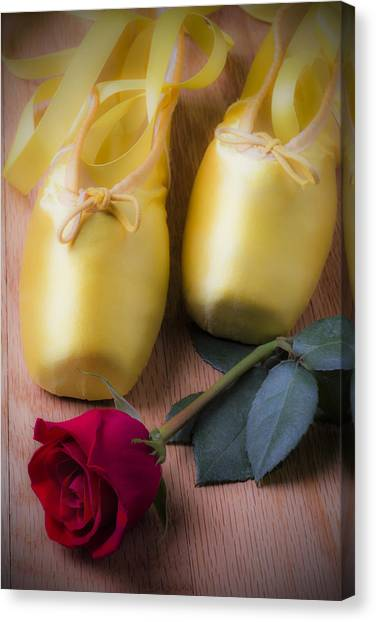 Ballet Shoes Canvas Print - Ballet Shoes With Red Rose by Garry Gay