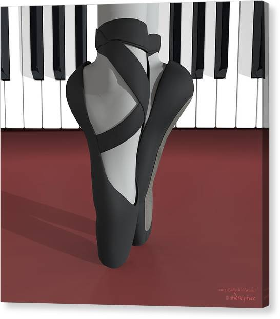 Ballet Toe Shoes Over Royal Red And Piano Keys Canvas Print by Alfred Price