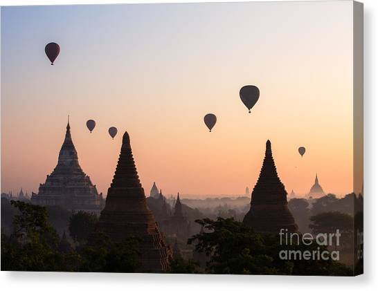 Flag Canvas Print - Ballons Over The Temples Of Bagan At Sunrise - Myanmar by Matteo Colombo