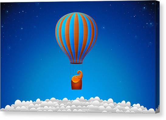 Happy Elephant Canvas Print - Balloon Elephant by Gianfranco Weiss