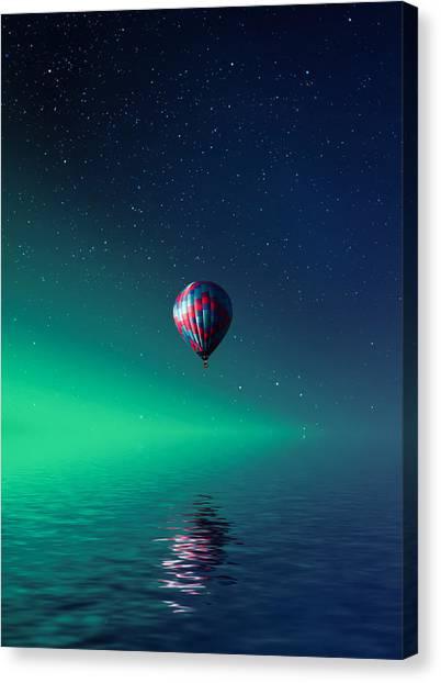Hot Air Balloons Canvas Print - Balloon On Lake Batllava by Bess Hamiti