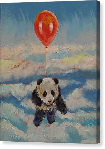 Panda Canvas Print - Balloon Ride by Michael Creese
