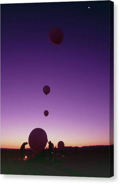 Black Rock Desert Canvas Print - Balloons In Rocketry by Peter Menzel/science Photo Library
