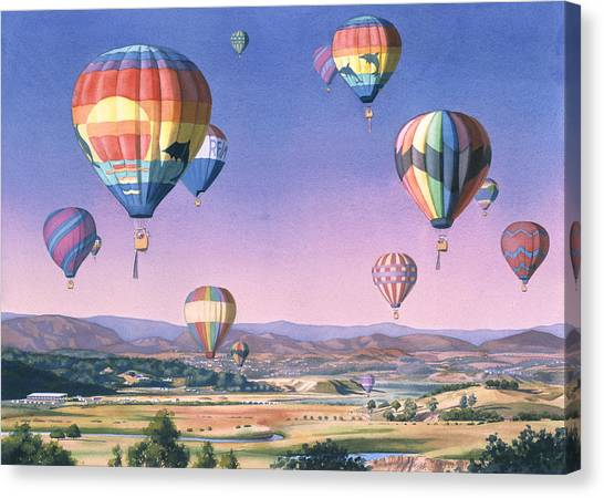 Hot Air Balloons Canvas Print - Balloons Over San Dieguito by Mary Helmreich