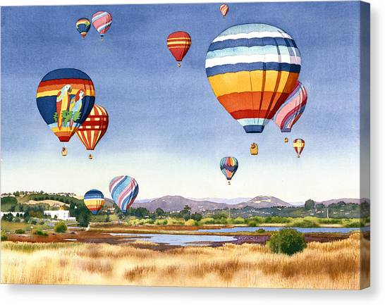 Celebration Canvas Print - Balloons Over San Elijo Lagoon Encinitas by Mary Helmreich