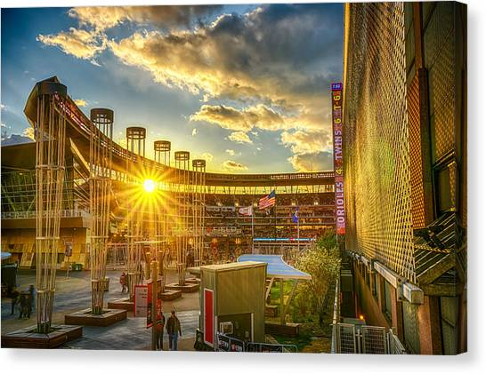 Minnesota Twins Canvas Print - Ballpark Sunset At Target Field by Mark Goodman