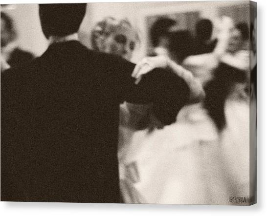 Sepia Canvas Print - Ballroom Dancers Viennese Waltz by Beverly Brown Prints