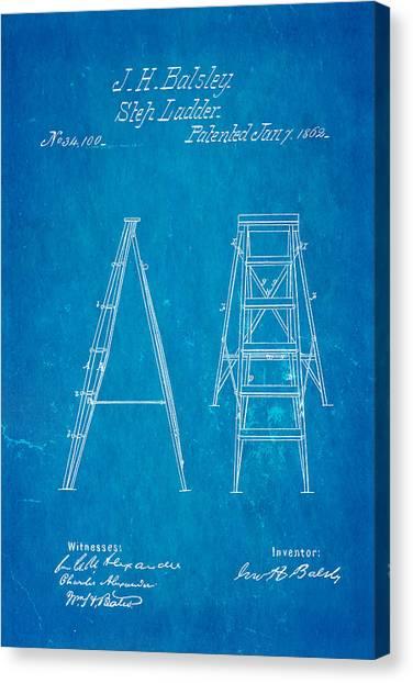 Balsley Step Ladder Patent Art 1862 Blueprint Canvas Print by Ian Monk