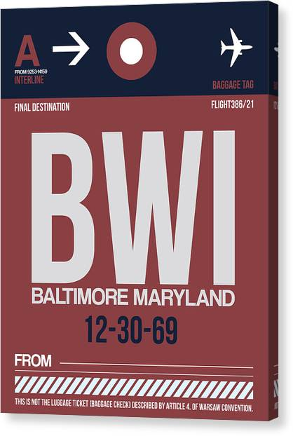 Maryland Canvas Print - Baltimore Airport Poster 2 by Naxart Studio