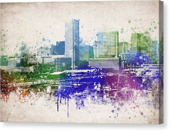 Washington Monument Canvas Print - Baltimore City Skyline by Aged Pixel