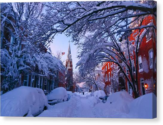 South Baltimore Canvas Print - Baltimore Evening Street Under 2 Feet Of Snow by SCB Captures