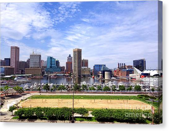 Volleyball Canvas Print - Baltimore Inner Harbor Beach by Olivier Le Queinec