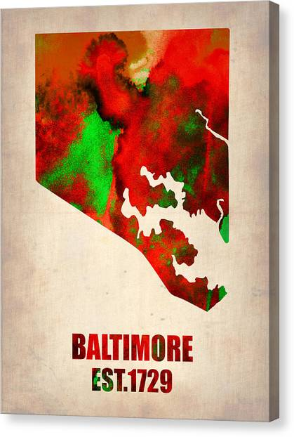 Maryland Canvas Print - Baltimore Watercolor Map by Naxart Studio