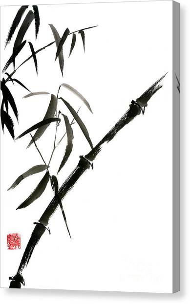 Bamboo Canvas Print - Bamboo Japanese Chinese Sumi-e Suibokuga Tree Watercolor Original Ink Painting by Mariusz Szmerdt