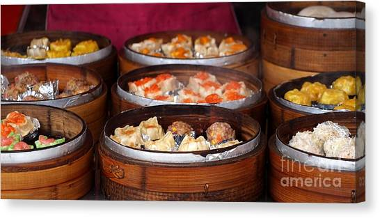 Stuffing Canvas Print - Bamboo Steamers With Dim Sum Dishes by Yali Shi