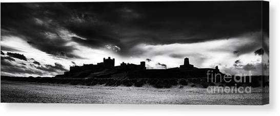 Rainclouds Canvas Print - Bamburgh Castle Monochrome by Tim Gainey