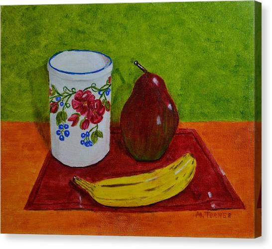 Banana Pear And Vase Canvas Print