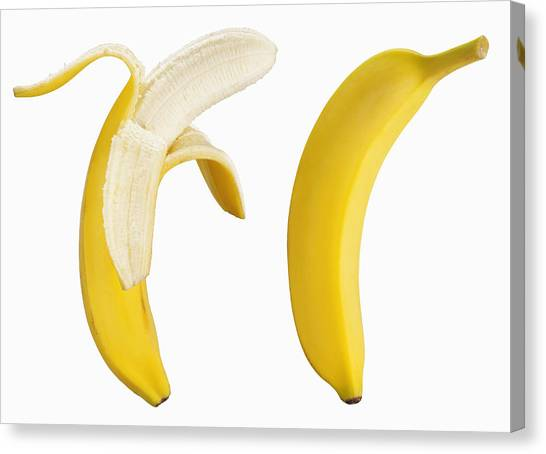Bananas On White Canvas Print by Lew Robertson