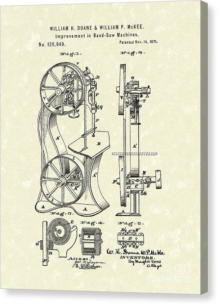 Band Saw 1871 Patent Art Canvas Print
