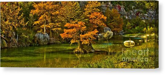 Bandera Falls On Medina River Canvas Print