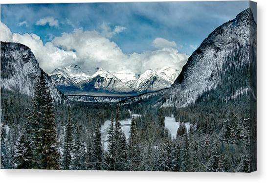 Banff Springs Valley In Winter Canvas Print