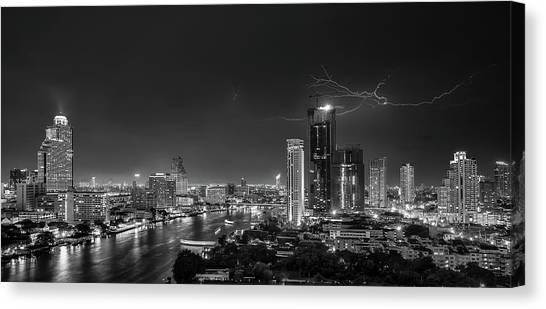 Thunderstorms Canvas Print - Bangkok Lightning by Stefan Schilbe