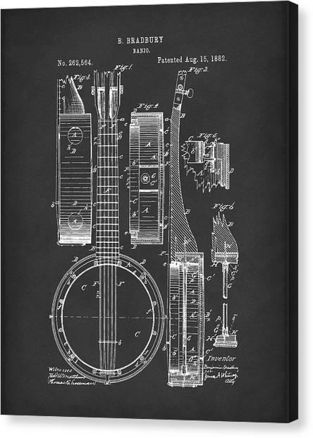 Banjos Canvas Print - Banjo 1882 Patent Art Black by Prior Art Design