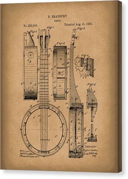 Banjos Canvas Print - Banjo 1882 Patent Art Brown by Prior Art Design