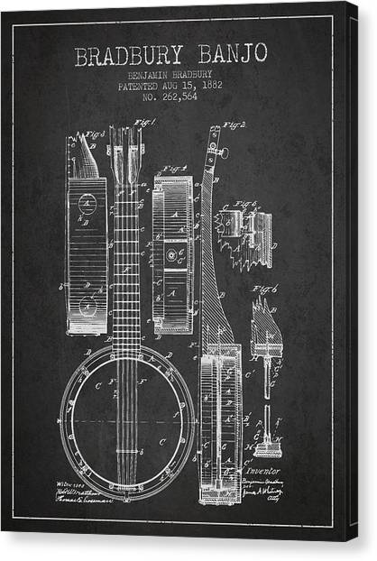Banjos Canvas Print - Banjo Patent Drawing From 1882 Dark by Aged Pixel