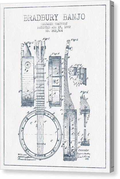 Banjos Canvas Print - Banjo Patent Drawing From 1882 - Blue Ink by Aged Pixel