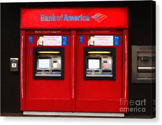 Bank Of America Automated Teller Machine - Painterly - 5d20737 Canvas Print by Wingsdomain Art and Photography