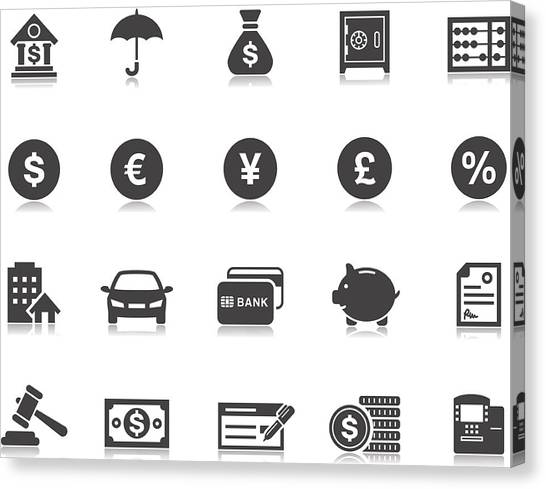 Banking & Finance Icons | Pictoria Series Canvas Print by Runeer