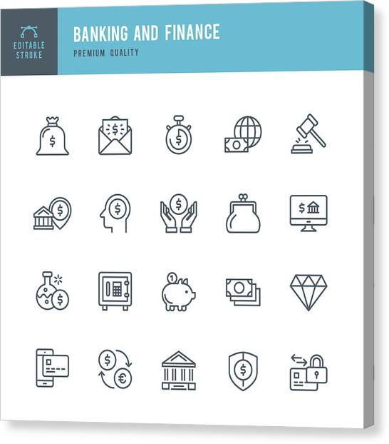 Banking And Finance  - Thin Line Icon Set Canvas Print by Fonikum