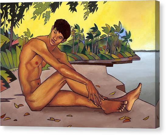 Male Nudes Canvas Print - Banks Of The Mekong by Douglas Simonson
