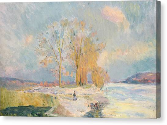 Snow Bank Canvas Print - Banks Of The Seine And Vernon In Winter by Albert Charles Lebourg