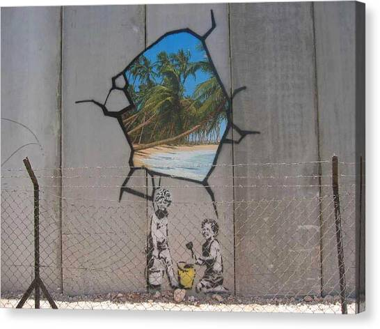Palestinian Canvas Print - Banksy Bethlehem by Arik Bennado