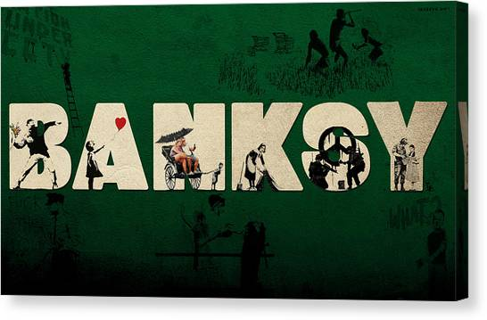 Hip Hop Canvas Print - Banksy Collage by Arik Bennado